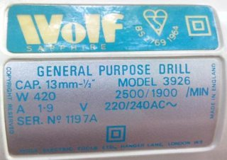 Wolf Sapphire Model 3926 Drill - label