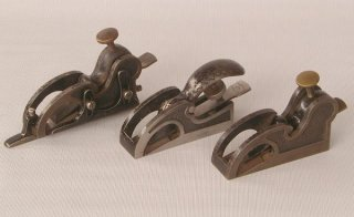 Three different Preston Iron Bullnose Rabbet Planes