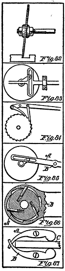 Fig. 82. Wabble Saw Fig. 83. Continuous Crank Motion Fig. 84. Continuous Feed Fig. 85. Crank Motion Fig. 86. Ratchet Head Fig. 87. Bench Clamp