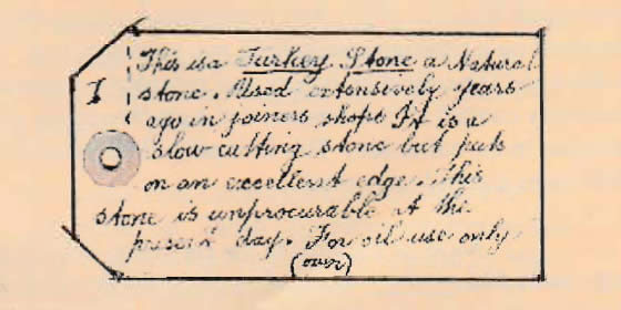 Turkey Stone tag (two sided)